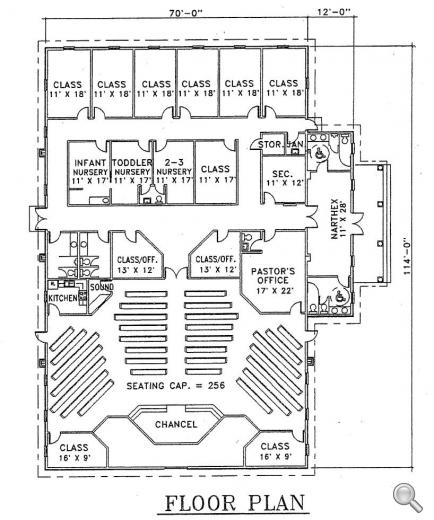 Church plan 103 lth steel structures for Floor plan church