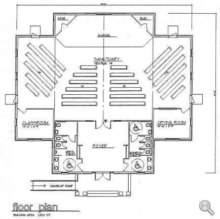 Church plan 114 lth steel structures for Floor plan church