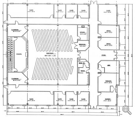 Church plan 139 lth steel structures for Modern church designs and floor plans
