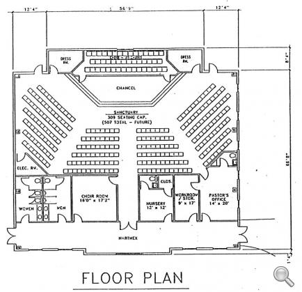 Church plan 144 lth steel structures for Church blueprints and floor plans