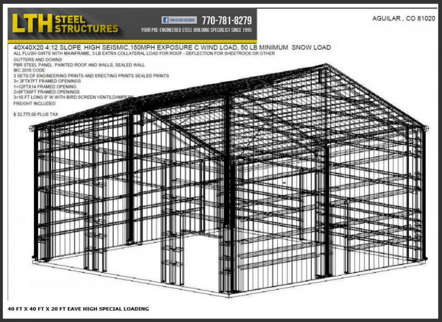 40 39 x 40 39 x 20 39 steel building for sale usa co 81020 for Metal building plans and prices