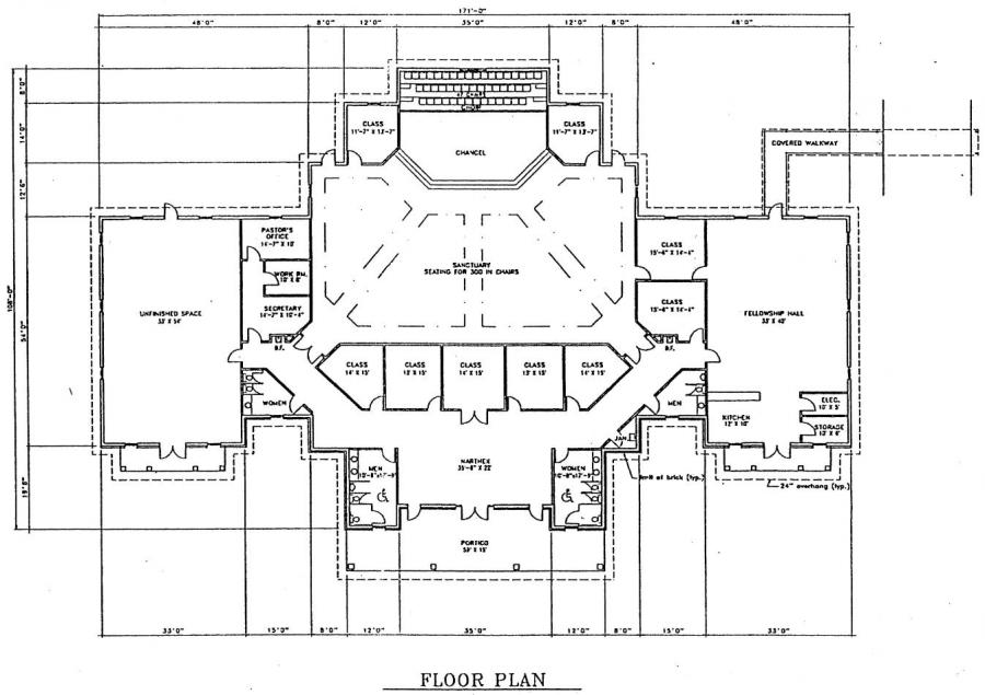 Church plan 135 lth steel structures for Floor plan church