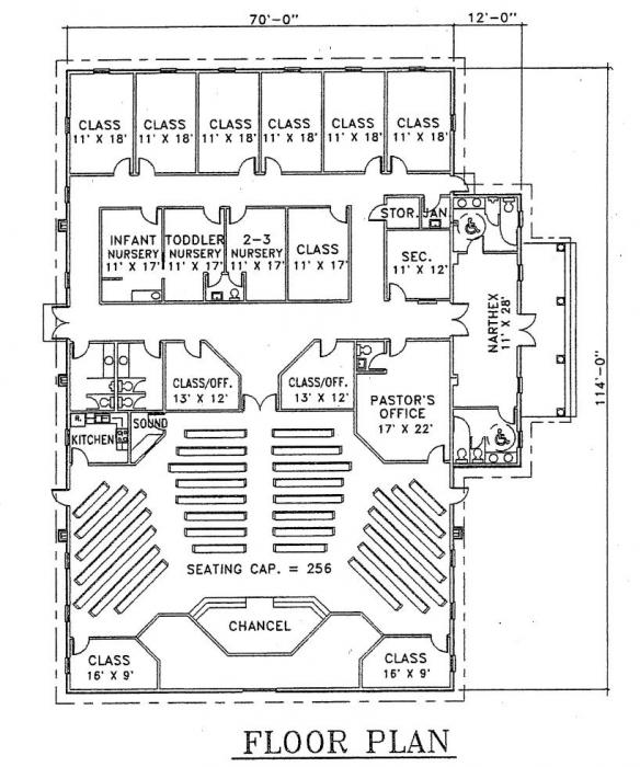 Church plan 103 lth steel structures for Church designs and floor plans