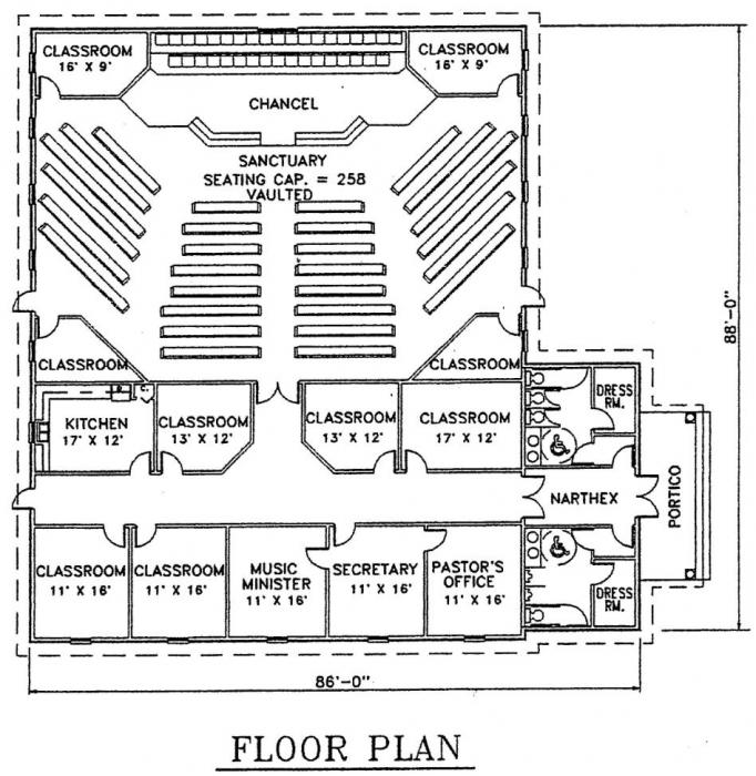 Church plan 105 lth steel structures for Church floor plan designs