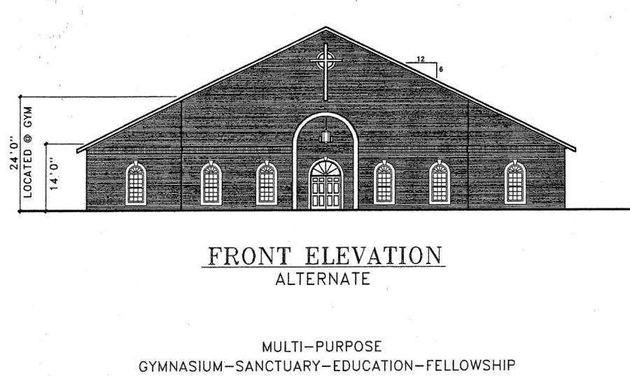 Floor Front Elevation Church : Church plan lth steel structures