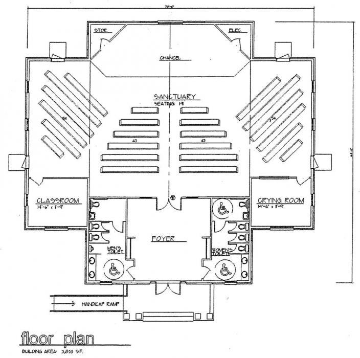 Church plan 114 lth steel structures for Church designs and floor plans
