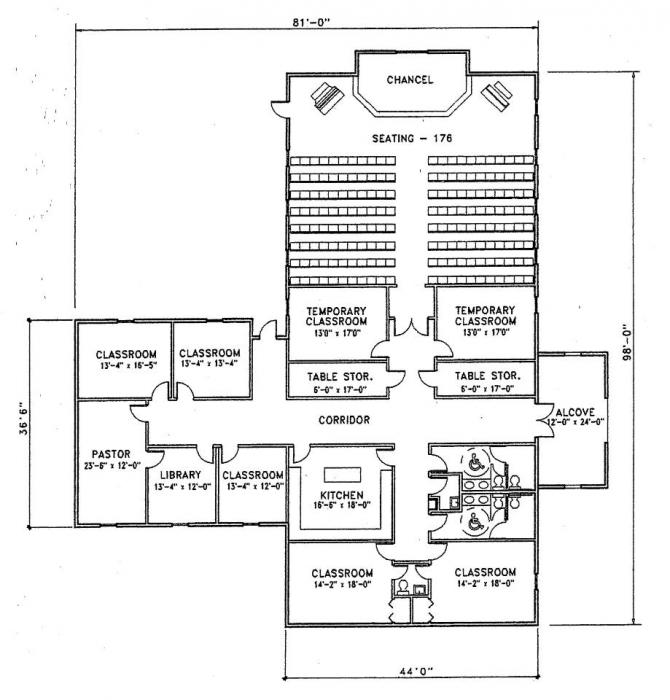 Church plan 119 lth steel structures for Church blueprints and floor plans