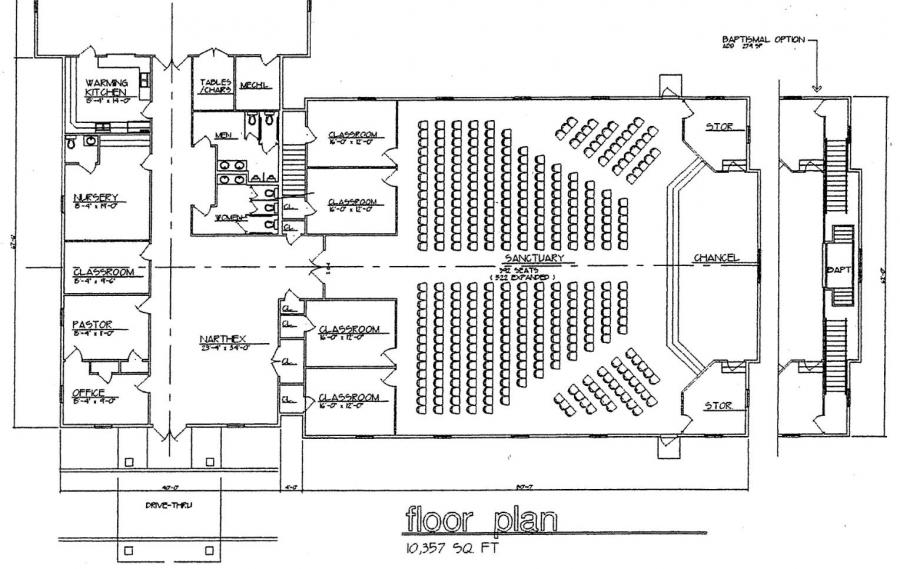 Church plan 120 lth steel structures for Modern church designs and floor plans
