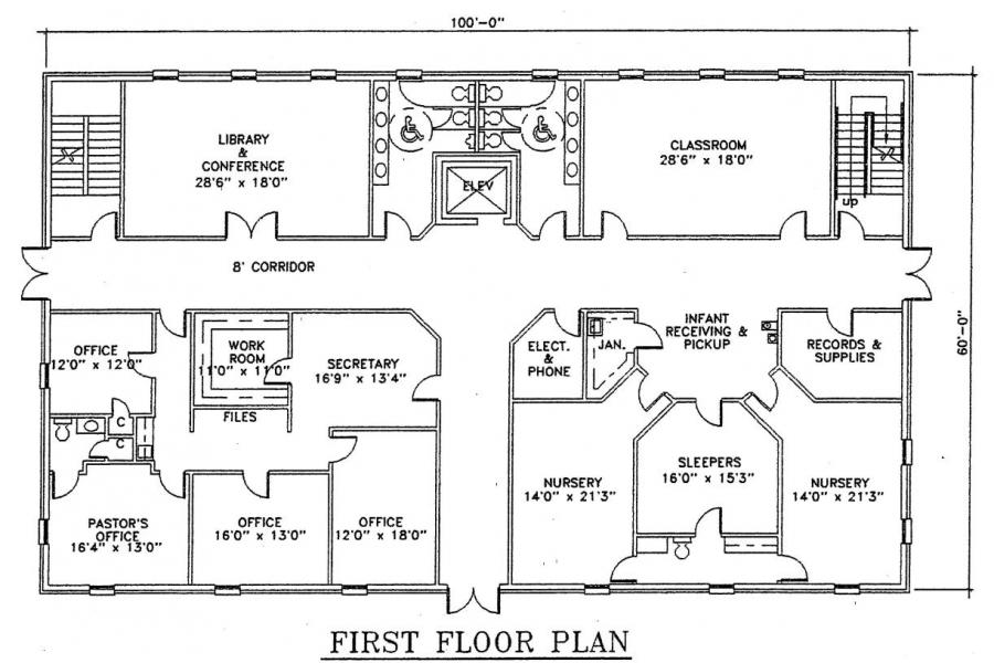 Church plan 121 122 lth steel structures for Church blueprints and floor plans
