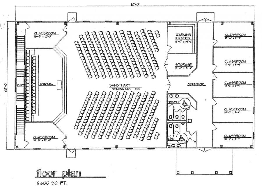 Church plan 124 lth steel structures for Church designs and floor plans