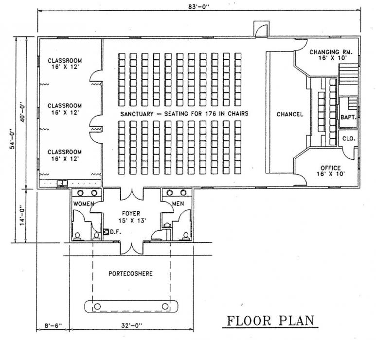 Church plan 127 lth steel structures for Church designs and floor plans
