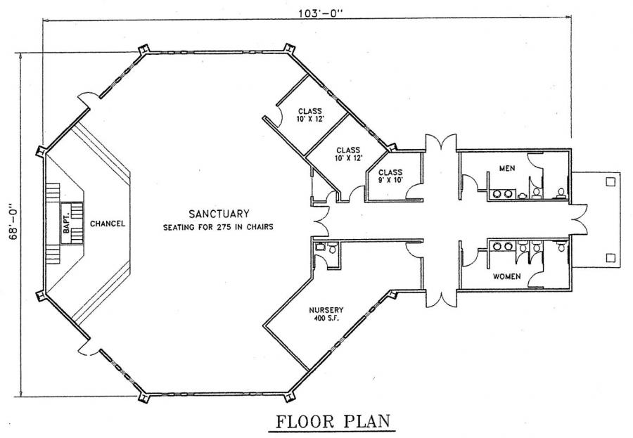 Church plan 130 lth steel structures for Church blueprints and floor plans