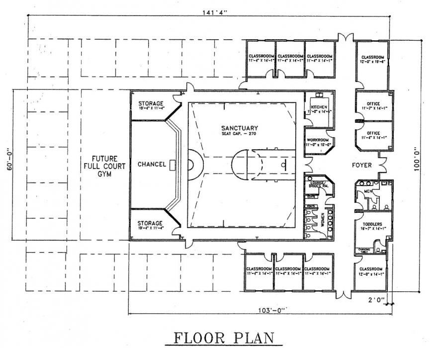 Church plan 132 lth steel structures for Church blueprints and floor plans