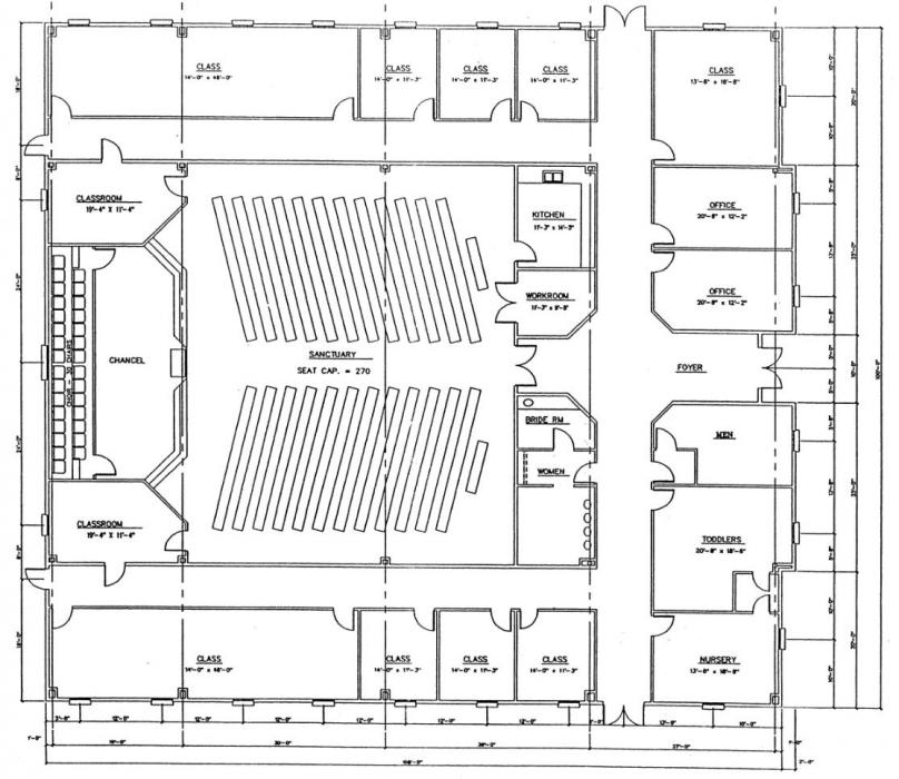 Church plan 139 lth steel structures for Church designs and floor plans