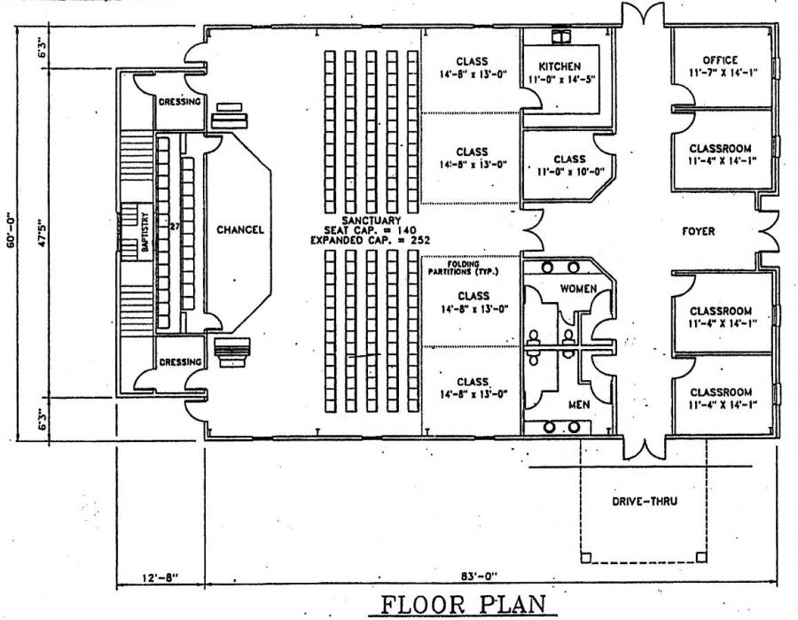 Church plan 142 lth steel structures for Church designs and floor plans