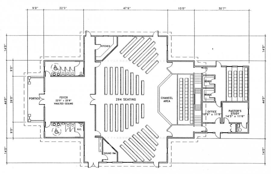 Church plan 143 lth steel structures for Church designs and floor plans