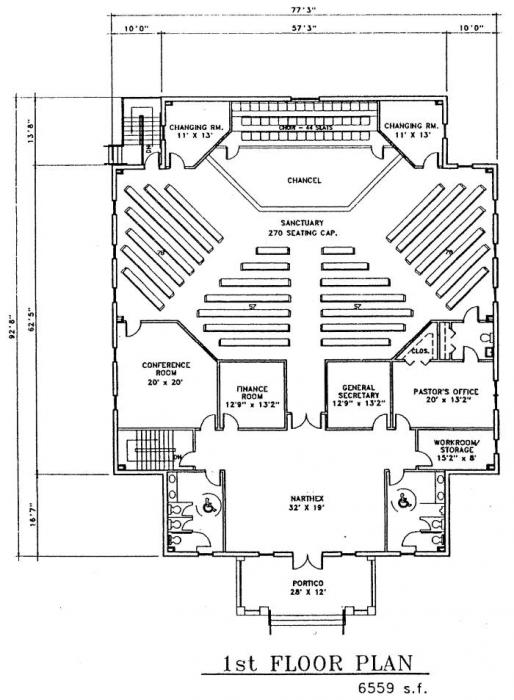 Church plan 149 lth steel structures for Modern church designs and floor plans