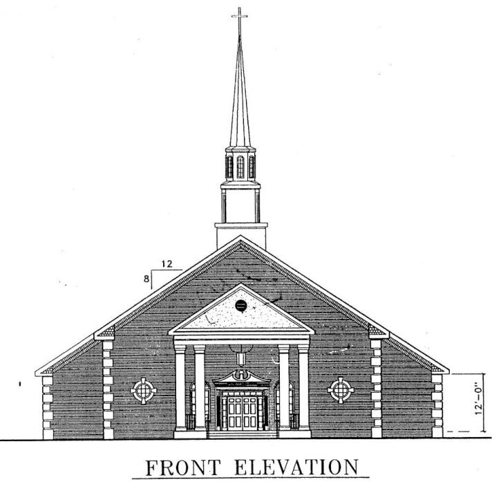 Sample Front Elevation Church : Church plan lth steel structures