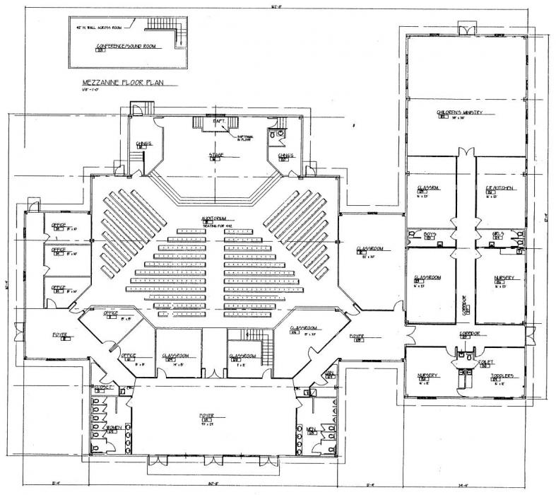 Church plan 150 lth steel structures for Church blueprints and floor plans